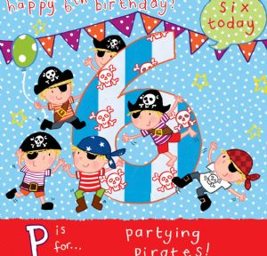 AGE 6 Pirates Birthday Card TW062